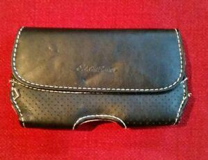 Eddie-Bauer-Smart-Phone-Case-Stitched-Black-Leather-Tan-Interior-Belt-Clip