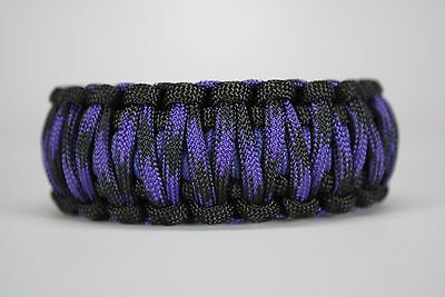 550 Paracord Survival Bracelet Cobra Black//Violet Raven Camping Tactical