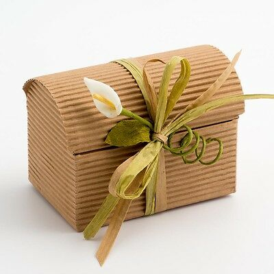 Natural DIY KRAFT CORRUGATED Wedding Rustic Favour Gift Box Shabby Chic Vintage