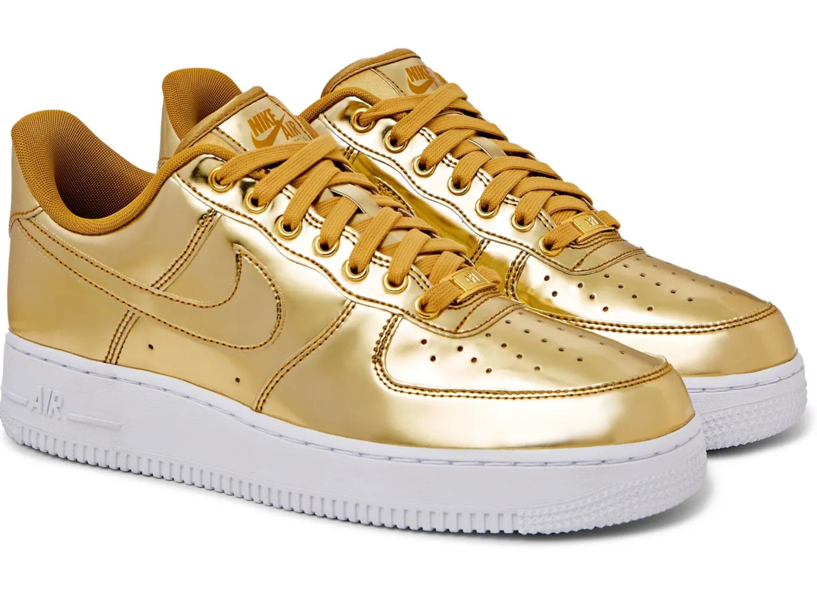 Nike Air Force 1 Sport Métallique Brevet Argent Baskets Chaussures
