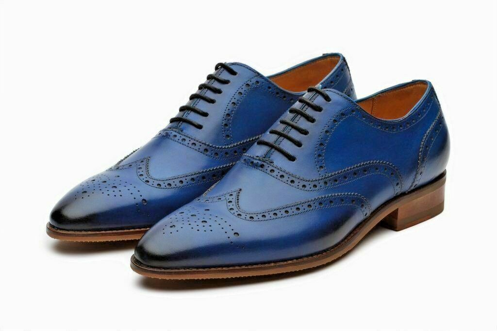 gli ultimi modelli Uomo Handmade blu Oxford Brogue scarpe Formal Formal Formal Classic Wingtip LaceUp scarpe  economico e alla moda