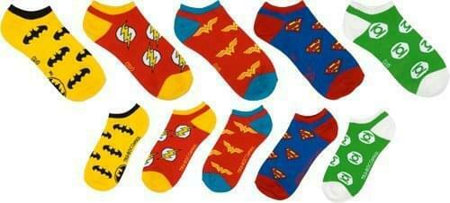 DC Comics Superhero Logo Ankle Socks 5 Pair Pack One Size Fits Most