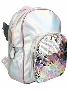 db6a8c8d8934 Image is loading Girls-Kids-Iridescent-Unicorn-Swipe-Sequin-Rucksack-wings-