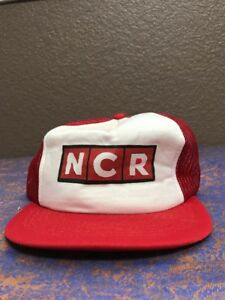 Trucker Hat VTG NCR National Cash Register Red Mesh SnapBack ... 33c75deff45