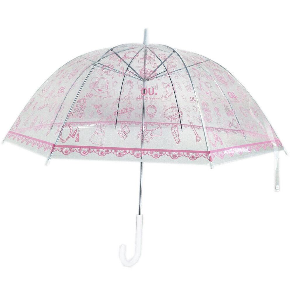 Unique Art 29.5 Inches Diameter Cute Pink Dome Bubble Clear Rain Umbrella