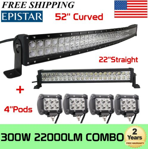 """22in Curved 52Inch LED Light Bar 4/"""" 18W PODS OFFROAD SUV 4WD ATV VS 52//42//20"""