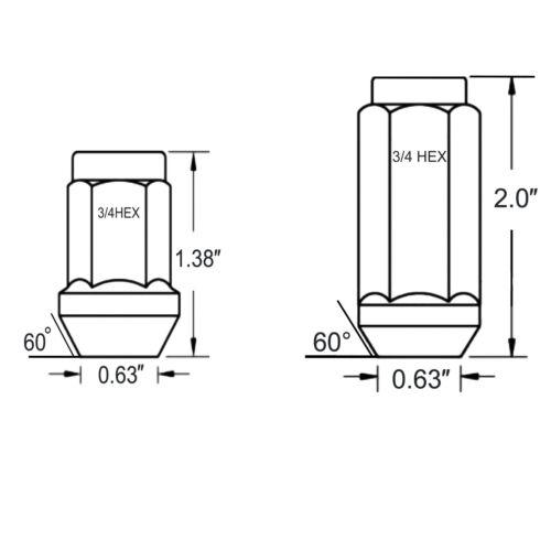 FIT PLYMOUTH GTX ROAD RUNNER SATELLITE 1.38/'/' ACORN LUG NUT 1//2-20 CHROME 20PC