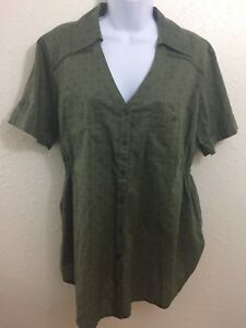 Fashion Bug Shirt Womens size XL Bouse Top Green Short Sleeves Button Front