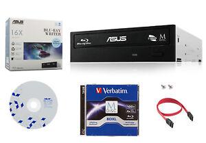 ASUS 16x BW-16D1HT Blu-Ray Burner Drive+1pk 100GB MDisc BDXL+Software+SATA Cable