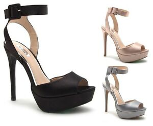 a7ddd2650654 Image is loading Qupid-Satin-Ankle-Strap-Open-Toe-Dress-Heel-