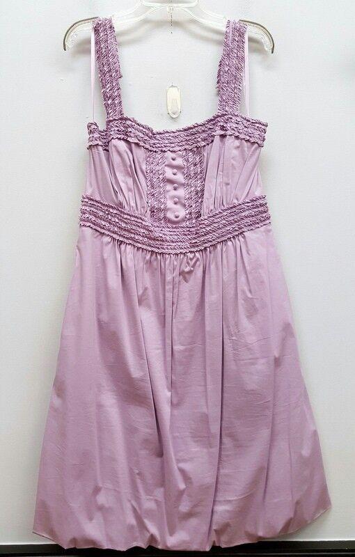 BCBG MAX AZRIA  M lila Lilac Lavender Ruffle Trim Sleeveless Bubble Sun Dress