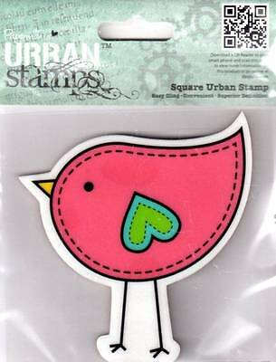 New PAPERMANIA Urban rubber stamp stylized bird CLING free us ship
