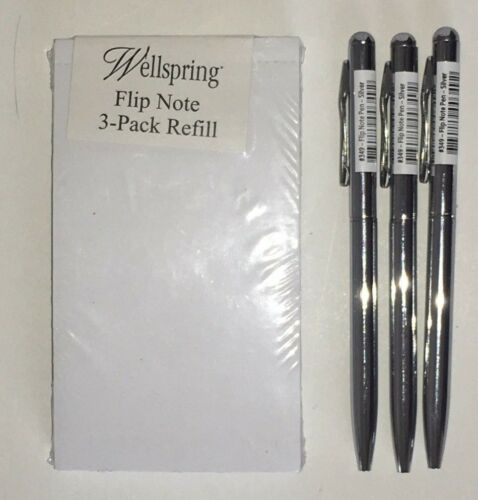 3 SILVER Replacement Pens #2204 Pk of 3 Wellspring Flip Note Refill Paper Pads