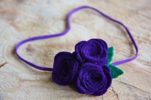 Baby Girl Flower Rose Felt Flower Headband Elastic Photo props Wedding Soft