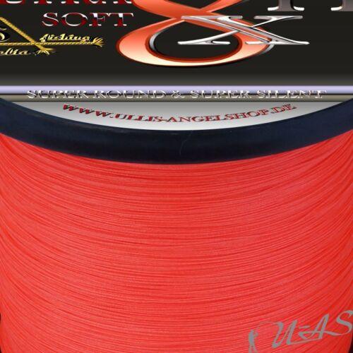 DELTEX Ultra Soft Rot 0,18mm 12.0kg 1000M 8 fach Rund Geflochtene Angelschnur