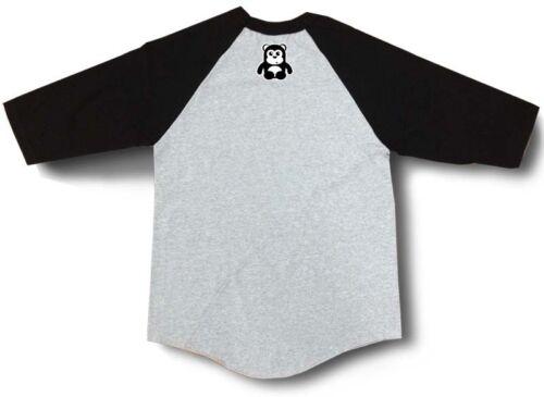 NEW Baseball Shirt Raglan 3//4 Sleeve Black Grey Printed Funny CUTE BABY BEAR