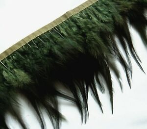 F214 PER FEET-Dark Oliver Rooster Hackle feather fringe Trim Fascinator Material
