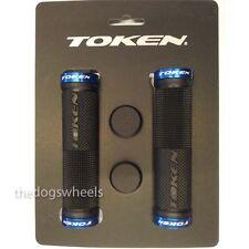 Token Gel Mountain Bike Bicycle MTB Handlebar Grips Lock-on Blue / Black