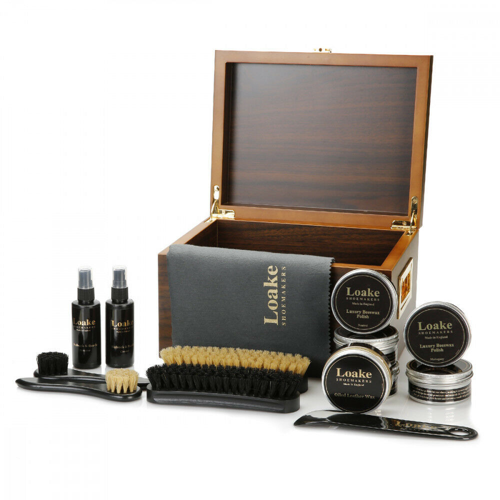 Loake Luxury Valet Box schuhe Stiefel Care Kit Cleaner Wax Brush Protector Polish