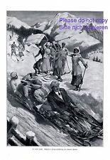 In voller Fahrt XL Kunstdruck 1914 Schlitten Viererbob Bob Abfahrt Flower Schnee