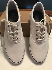 womens bass size 85m white leather sneakers lace up