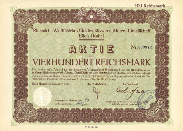 Lot 5 Stück Essen Ruhr Rheinisch-Westfälisches Elektrizitätswerk Aktie 1927 RWE