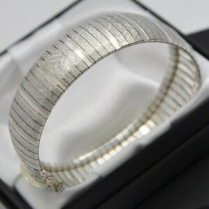 Wide-amp-Heavy-Italian-Vintage-Domed-Strap-Design-Bracelet-in-925-Sterling-Silver