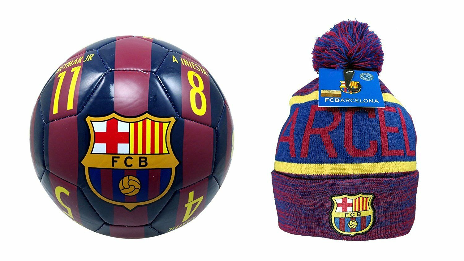FC Barcelona Official Soccer Size 4 Ball & Beanie Combo 17-1