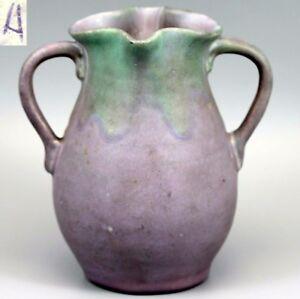 VTG-c-1930-Muncie-Double-Handled-Art-Vase-Green-over-Purple-Glaze-034-A-034-Marked