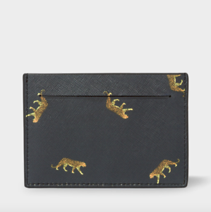 Black /'Leopard/' Saffiano Leather Credit Card Case RRP:£95 Paul Smith Wallet