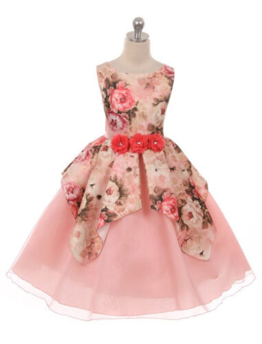 Blush Lilac Flower Girl Dress Floral Satin Organza Overlaid Wedding Party Easter