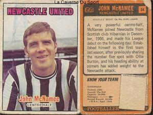 034 MACNAMEE NEWCASTLE UNITED ENGLAND CARD FOOTBALLER 1971 ORANGE BACK AB&C ~5 qwGJEYnv-08032740-104717977