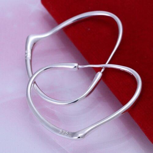 Fashion 925Sterling Solid Silver Jewelry Heart Hoop Earrings For Women E028