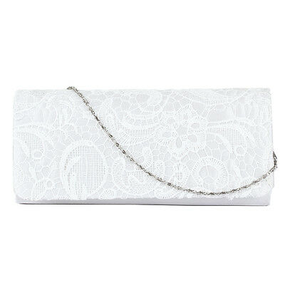 Women Shoulder Handbag Clutch Bag Satin Lace Evening Cocktail Night Club White
