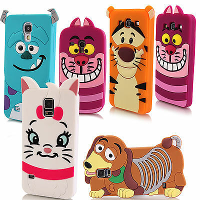 3D Cartoon Silicone Rubber Character Case Cover For Samsung Galaxy Mobile Phones