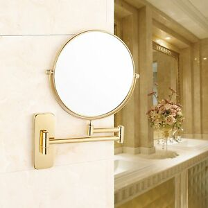 Gurun Wall Mount Rotated Extended Gold Makeup Mirrors With