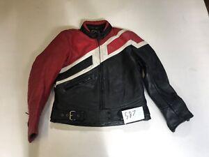 Veste-Moto-Cuir-Veritable-Noir-Rouge-Blanc-Aisselle-50-8cm-Longueur-55-9cm-587