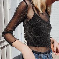 Latest Mesh Sheer Blouse Tops See-through Shiny Long Sleeve T Shirt Crop Tops