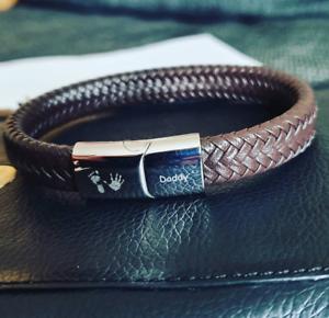 Personalised-Mens-Leather-Bracelet-Engraved-handprint-feet-DADDY-Jewellery