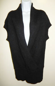 Thick Vince m Grey Tunica S 40 Wrap Tinta Sleeveless Maglione Cashmere Black Faux ar7Erq