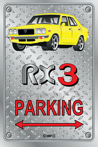 Parking-Sign-Metal-MazdA-RX3-4-door-05-Checkerplate-Look