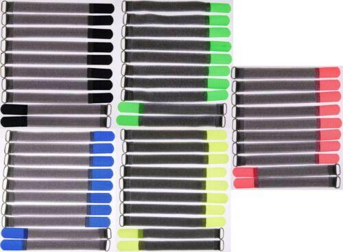 50 x Kabelklettband FK 20 cm x 20 mm in 5 verschiedenen Farben Klett Kabelbinder