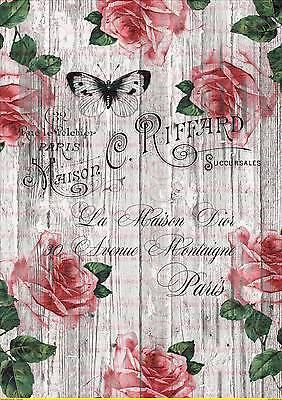 1695 SchüTtelfrost Und Schmerzen Basteln & Kreativität Bügelbild Shabby Rose Blume Rot Wand Paris French Vintage A4 No
