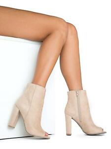 77cf2c4f1 New Women's Faux Suede Peep Toe Ankle Booties Boot Chunky Thick High ...