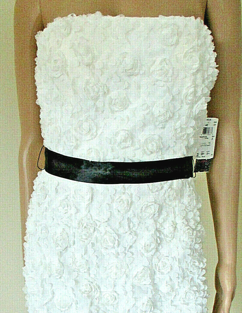 AQUA Strapless White Floral Lace Mini Dress NWT    Corset Sweetheart Size 2
