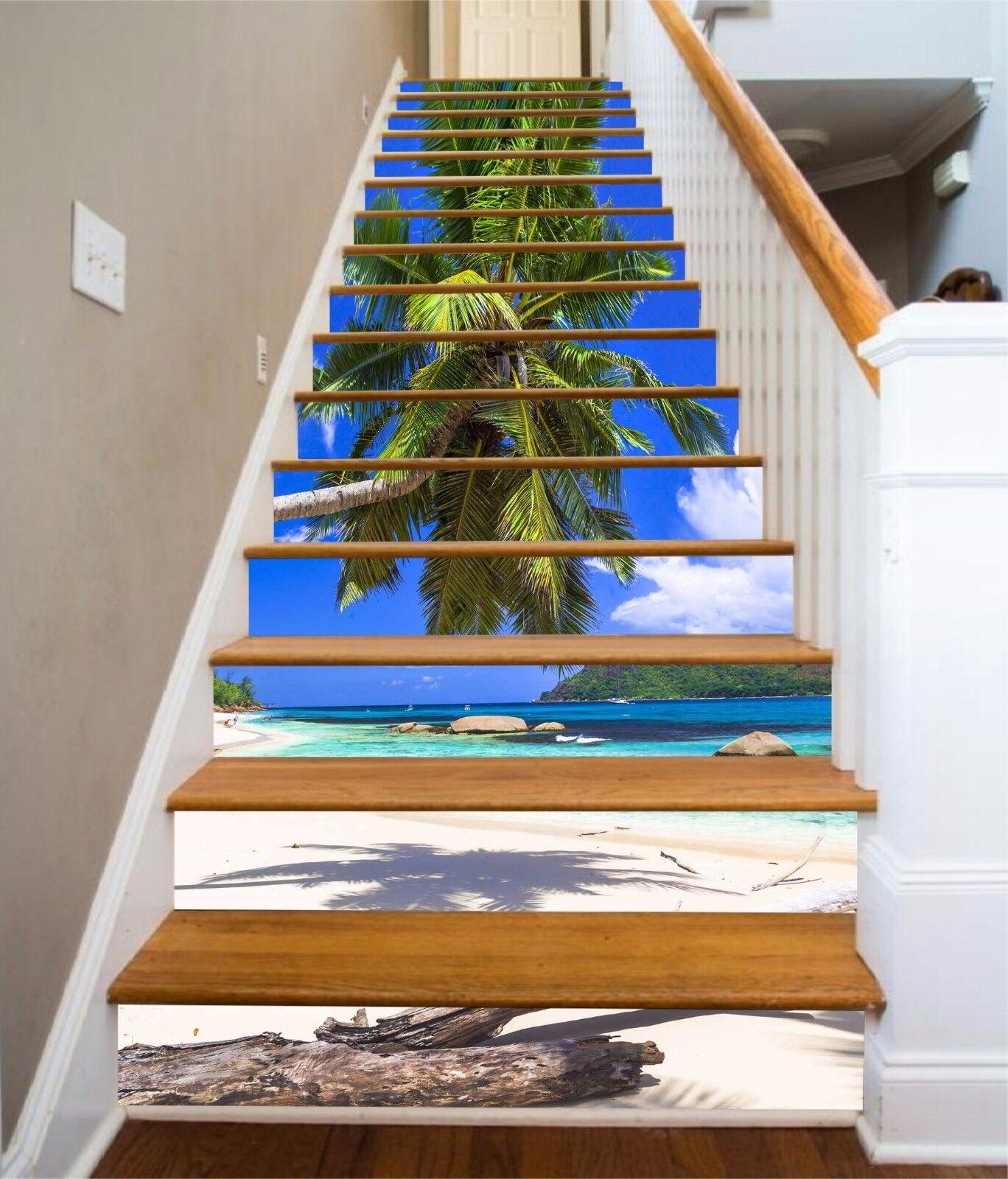 3D Palm Beach 35 Stair Risers Decoration Photo Mural Vinyl Decal Wallpaper UK