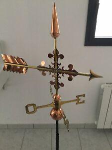 Amical Girouette Croix De Fleur De Lys En Cuivre Et Laiton