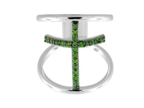 Différentes Couleurs Disponibles Sterling Silver Round Gemstone Cross Ring