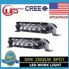 Single Row 30W 7in Cree Led Light Bar Spot Slim Offroad Driving 4WD Boat Car SUV
