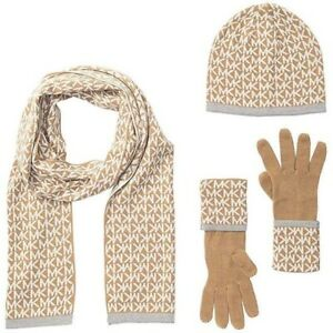 98-Michael-Kors-Womens-3-Pc-Set-MK-Logo-Scarf-Hat-amp-Gloves-Camel-Cream-One-Size